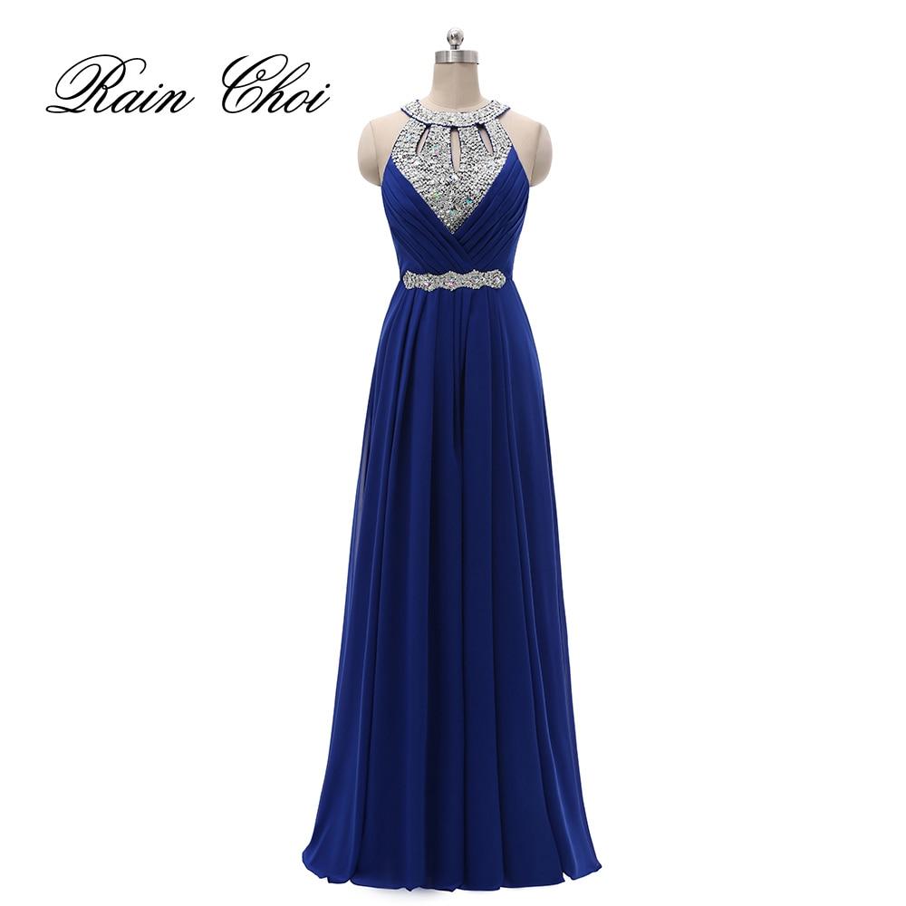 Formal Bridesmaid Dress Women Halter Wedding Party Gown Chiffon Long Dresses 2020
