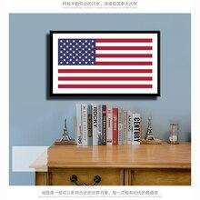Cartel de lienzo con estampado de bandera americana, cuadro artístico de pared para sala de estudio, pasillo del colegio, museo, decoración del hogar, sin marco LZ845