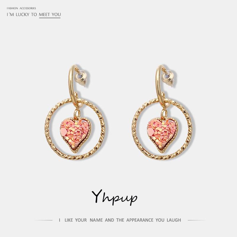 Yhpup, Pendientes colgantes geométricos a la moda, dulces y románticos, corazón redondo de cobre, 16 K, pendientes para mujeres, kolczyki, regalo de joyería