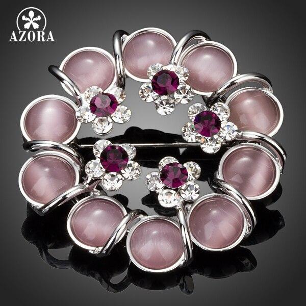 AZORA hermosa 10 piezas con cuentas de 5 flores Stellux cristal austriaco Pin broche TP0024