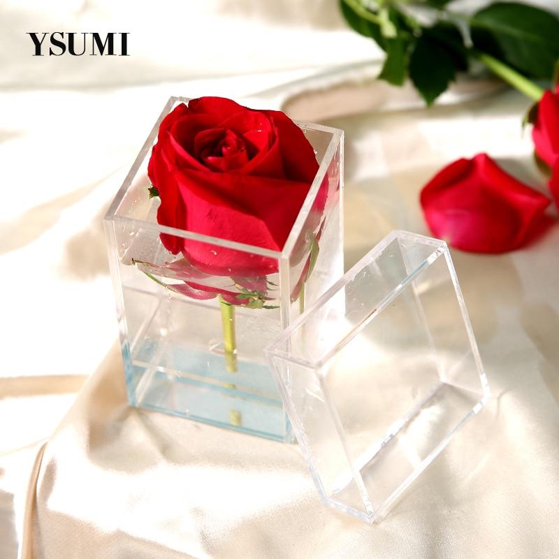 Acrílico claro Caja de rosas organizador de maquillaje ramo de flores Artificial flor caja de regalo de boda de Día de San Valentín decoración regalo caso
