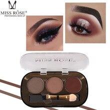 Professionnel 3 couleurs sourcil poudre Palette cosmétique sourcils rehausseur étanche ombre à paupières avec pinceau yeux maquillage