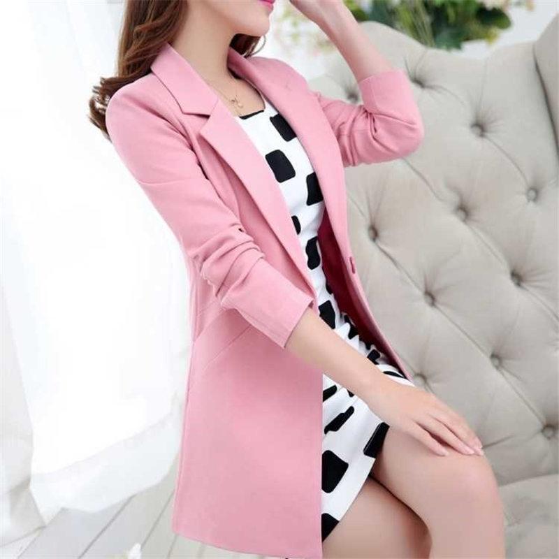 Nuevas chaquetas de moda para Primavera Verano 2019 americanas largas para mujer ajustadas coreanas traje de negocios de talla grande chaqueta ol abrigos A373