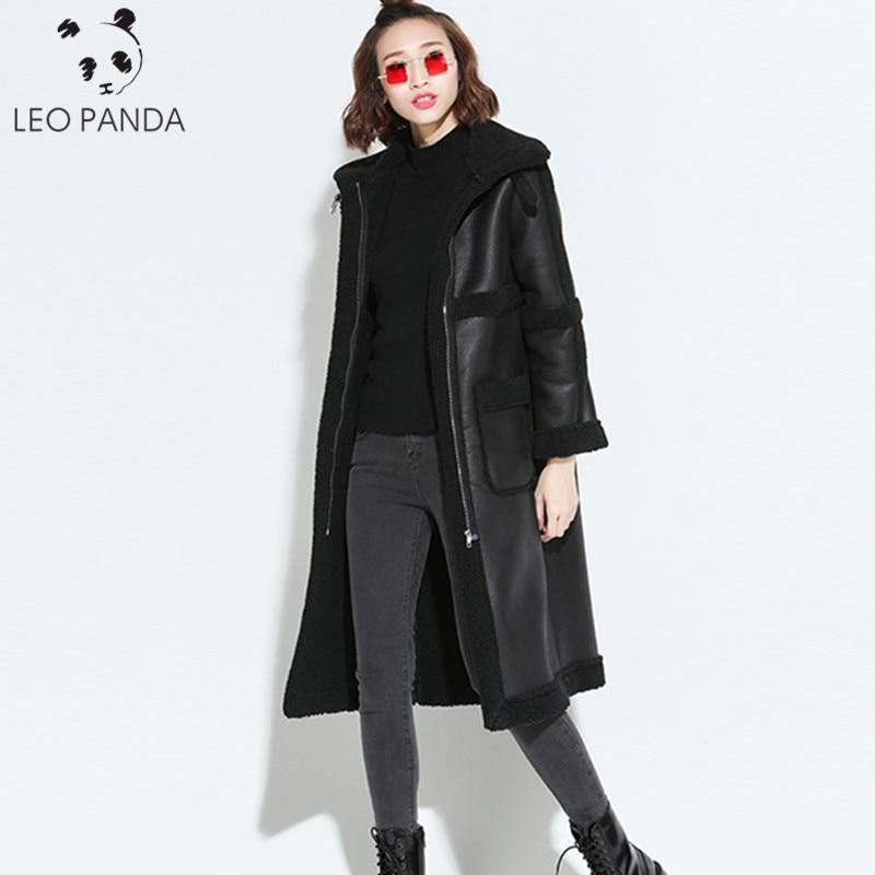 Inverno quente do falso couro do plutônio dentro da pele de carneiro parka 2020 mulheres motocicleta jaqueta longa casaco feminino preto bombardeiro motociclista jaquetas