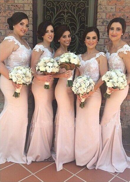 Cap Sleeves 2019 Cheap Bridesmaid Dresses Under 50 Mermaid V-neck Appliques Long Wedding Party Dresses For Women