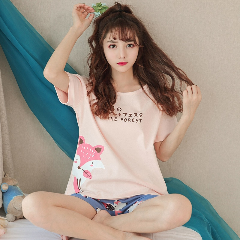 Summer new girl short sleeve sweet cute cartoon round neck female pajamas home service suit comfortable breathable pajamas enlarge