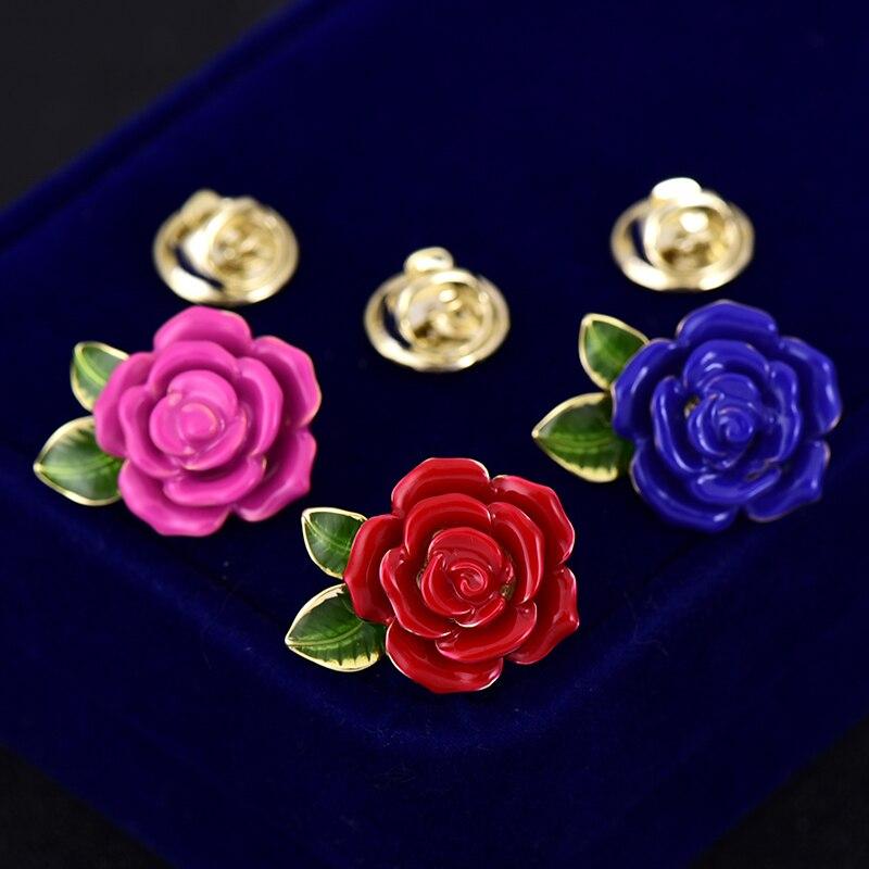 Oro esmalte Rosa flor camisa Collar broche Pin boda Boutonniere suéter Pins espina Pin