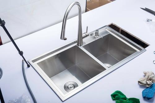 (78X43x22cm) fregadero de cocina para lavado de verduras, fregadero de dibujo grueso de doble ranura 304 lavabo de acero inoxidable