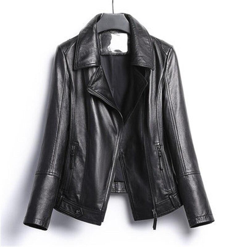 Женская кожаная куртка на молнии, свободная Байкерская кожаная куртка большого размера на весну и осень, FC105