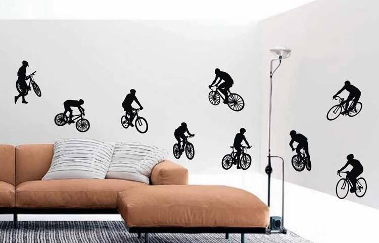 PW80 autocollant Mural de cyclisme cyclisme   Étiquette murale de Sport en vinyle, décor Mural amovible pour la maison