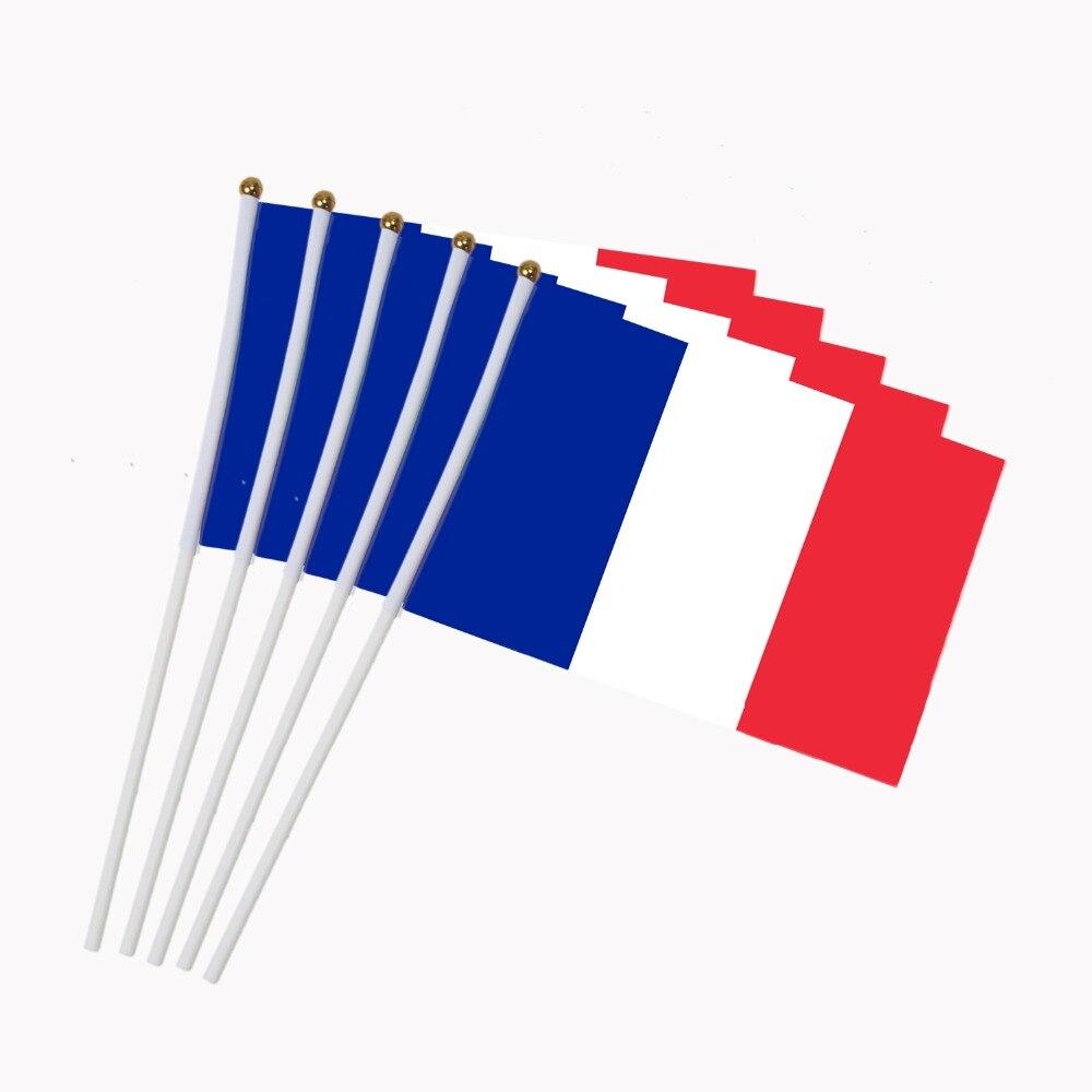 5 uds. Bandera francesa de 14x21cm banderas ondeantes de mano con astas de bandera de plástico desfile de actividades deportes decoración del hogar NN012