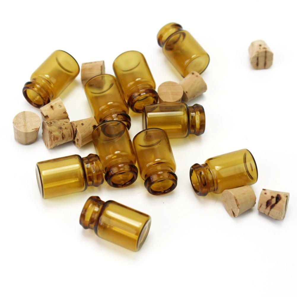 Lote de 10 unidades de Mini frascos de vidrio vacíos, de color marrón, para los deseos, frasco, contenedor de pequeñas botellas de mensajes a la deriva, para bodas y vacaciones