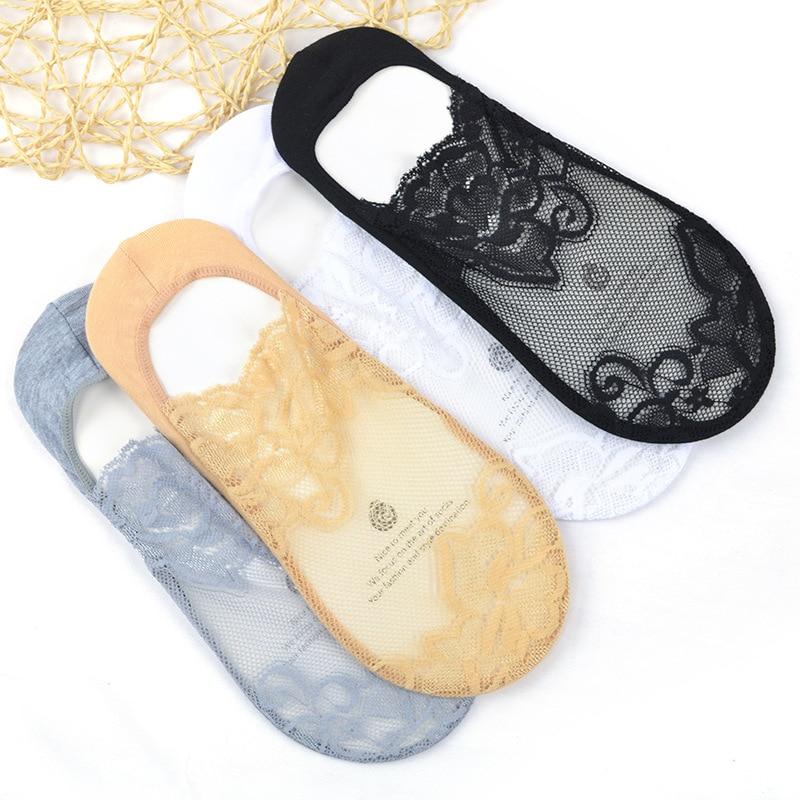 3 Pairs / Bag Of Thin Cotton Women Socks Versatile Lace Short Lace Socks Breathable Sweat-absorbent Non-Slip Tube Net Socks SW40