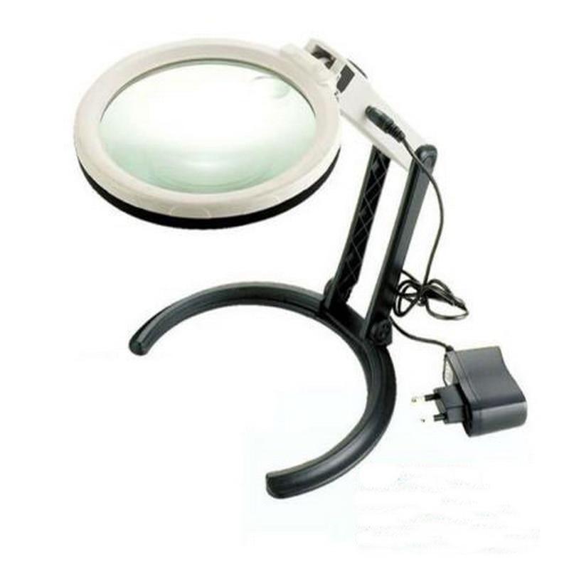 Светодиодный освещенный увеличитель Hands Free 2X/5X с подсветкой, лупа с 10 светодиодными лампами 120 мм, увеличительные очки с подставкой