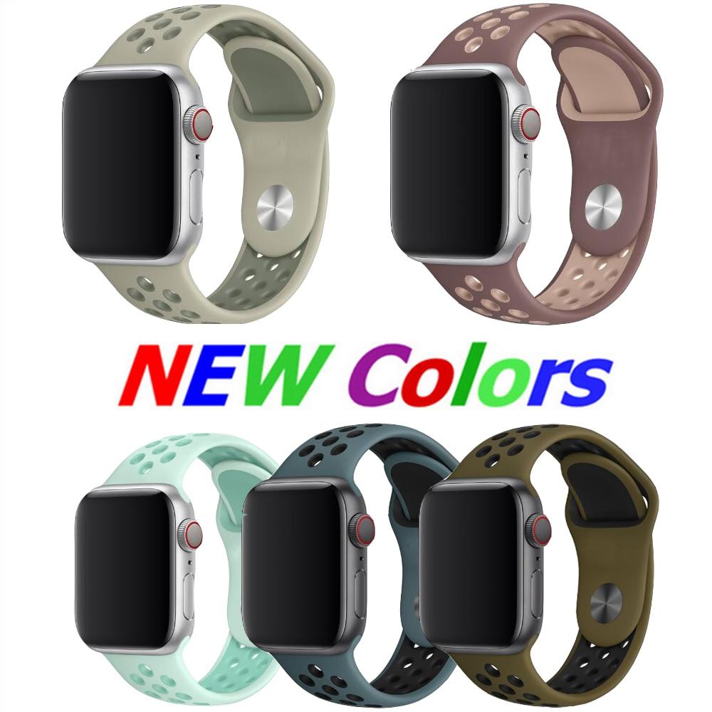 Slap-up correa para apple watch 42mm 38mm 40mm 44mm goma para deporte banda iwatch 4 3 2 1 serie 5