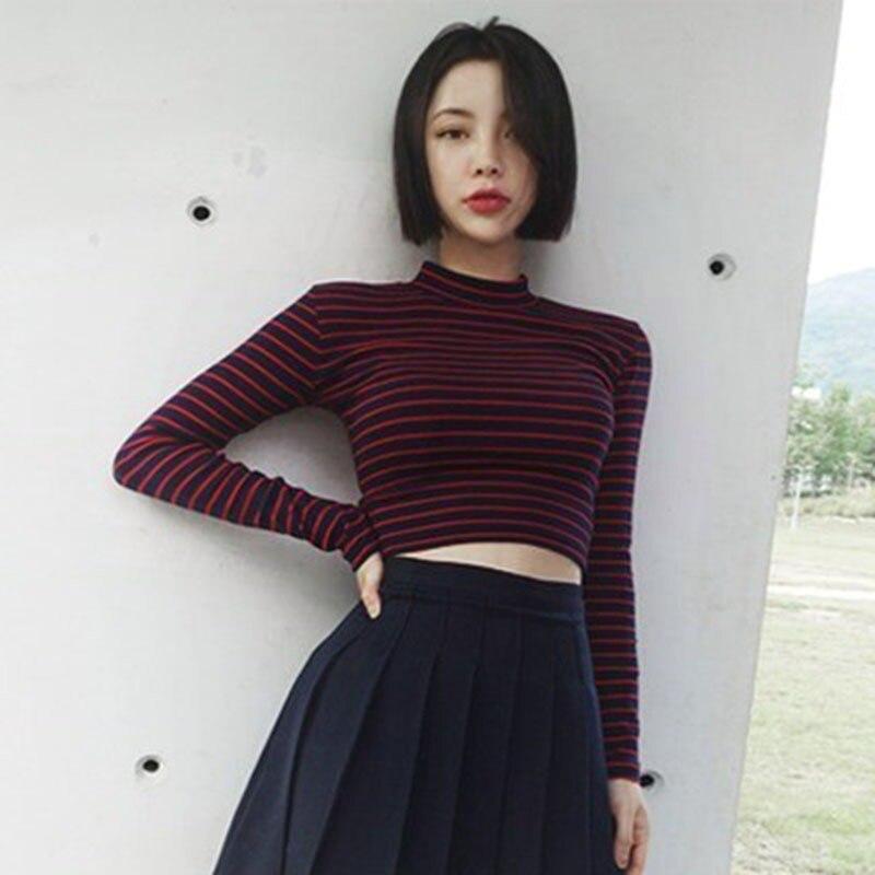 Moda femenina Harajuku rayas Slim Cropped Top camiseta 2018 estilo coreano camisetas de manga larga