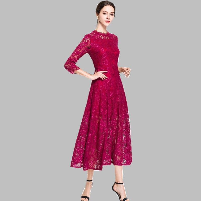 2019 primavera mujeres más el tamaño del vestido del cordón de la pista de alta calidad cuello redondo Vintage femenino Delgado Sexy Vestidos de fiesta Vestidos