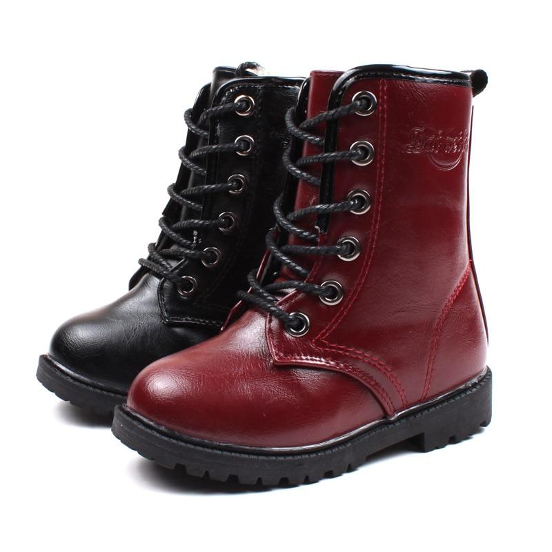 Botas impermeables de cuero de invierno para niños, botas de nieve interiores de felpa para niñas, zapatos de vestir a prueba de frío para niños, regalo de Navidad a la moda para niños
