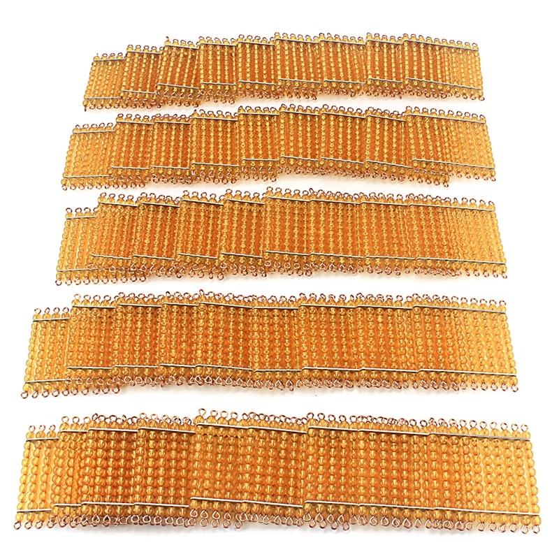 Montessori Materials Math Toy Golden Beads 45Pcs Squares for Hundred 100 Golden Beads Toys for Children Preschool Learning Kids