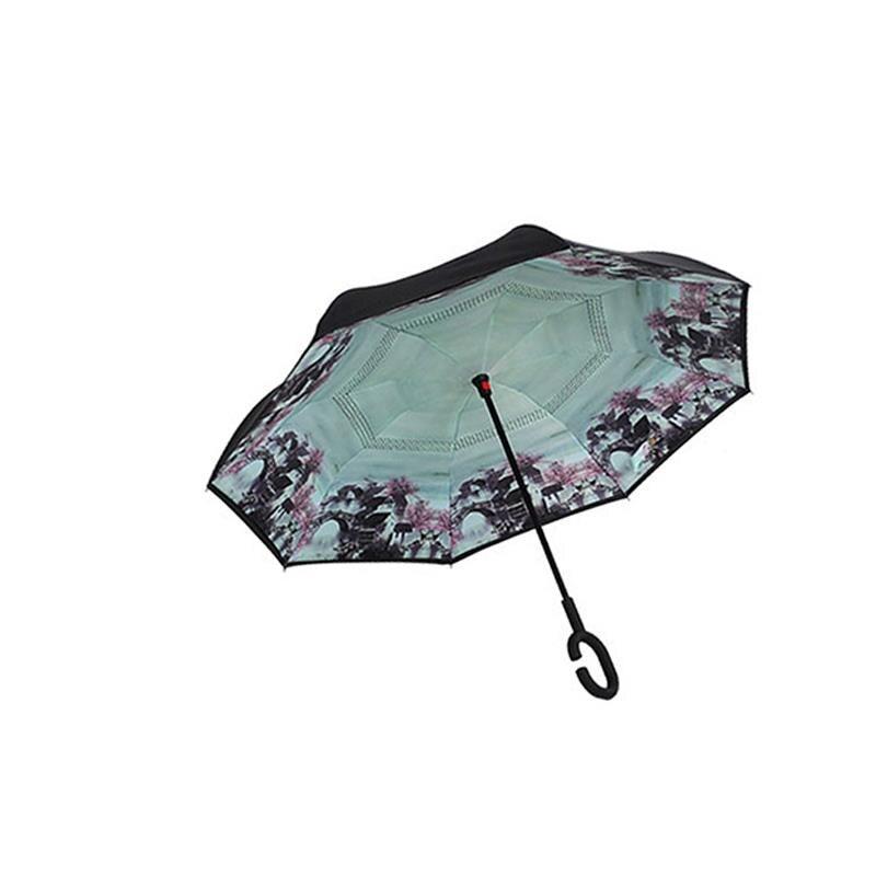 Звездное небо анти УФ перевернутый зонтик обратный складной двойной слой Guarda Chuva