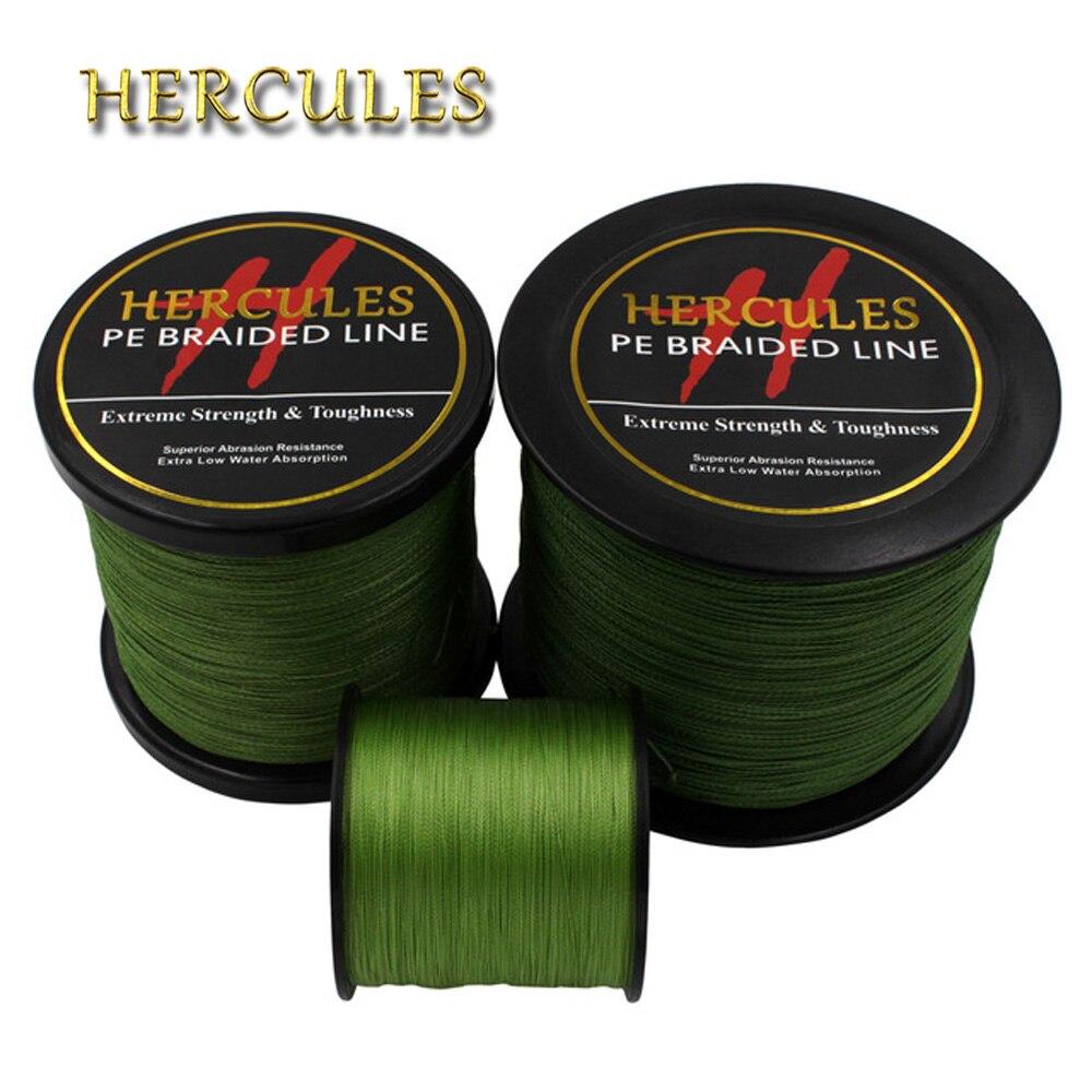 Рыболовная леска Hercules PE, плетеная, Армейская, зеленая, hengelsport, мультифиламентная, 4 нити, 100 м, 300 м, 500 м, 1000 м, 1500 м, 2000 м