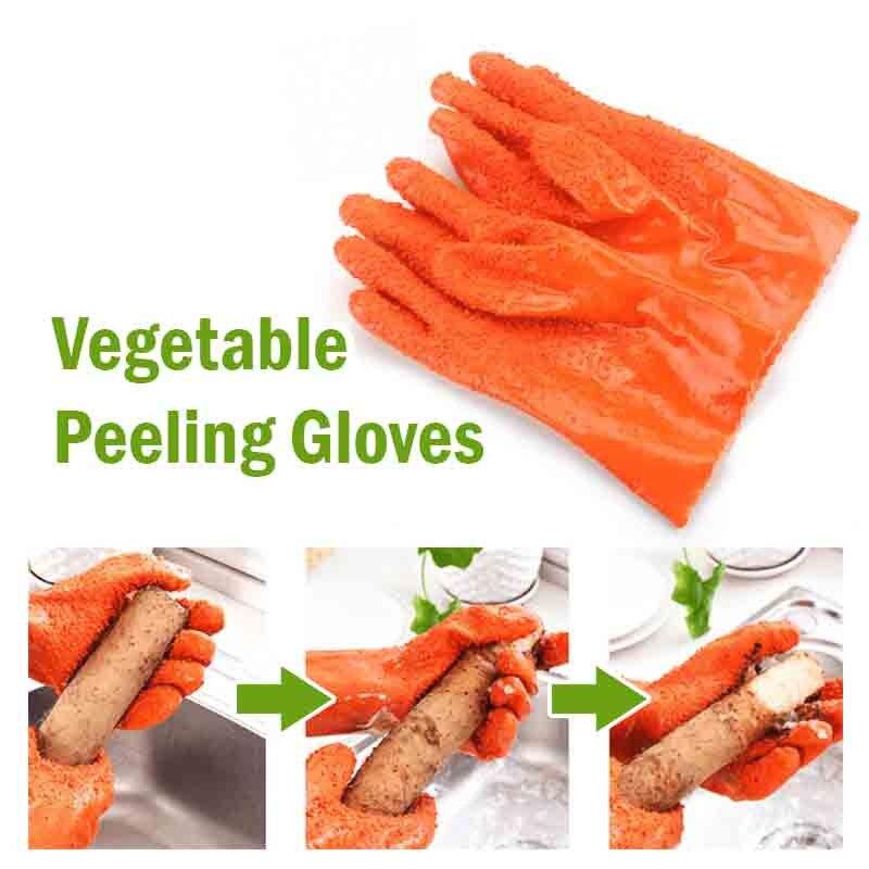 1 par de guantes de patata pelados, guantes antideslizantes para el trabajo, guantes de goma para el hogar, guantes de limpieza para Cocina