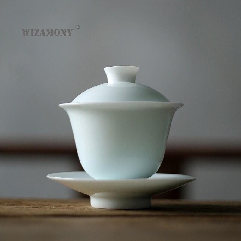 Juego de té WIZAMONY kungfú chino de 1 Uds., tetera gaiwan, tetera, tetera, juegos de té, tetera blanca de cerámica, regalo, puer Drinkware