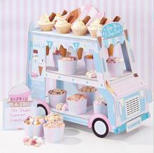 1pc 2 Layers Bus Shape Cupcake Cardboard Cake Stand Birthday Tea Party Cake Display Holder Cake Decorating Supplies