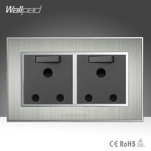 جديد وصول 146 القياسية 15A المقبس Wallpad Stainess الصلب AC 110-250V مزدوجة 15A جدار المملكة المتحدة Soutch أفريقيا مبدلة المقبس التوصيل