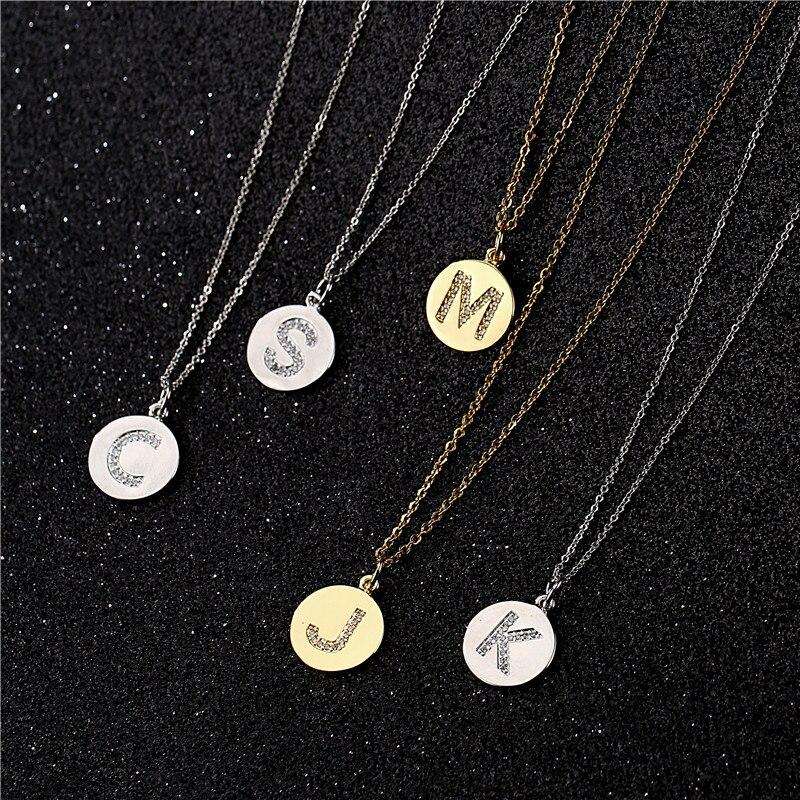 NEWBUY Trendy 26 Letters Pendant Necklace For Women Men AAA+ CZ Alphabet Necklace 45cm Gold Link Chain Necklace Dropship