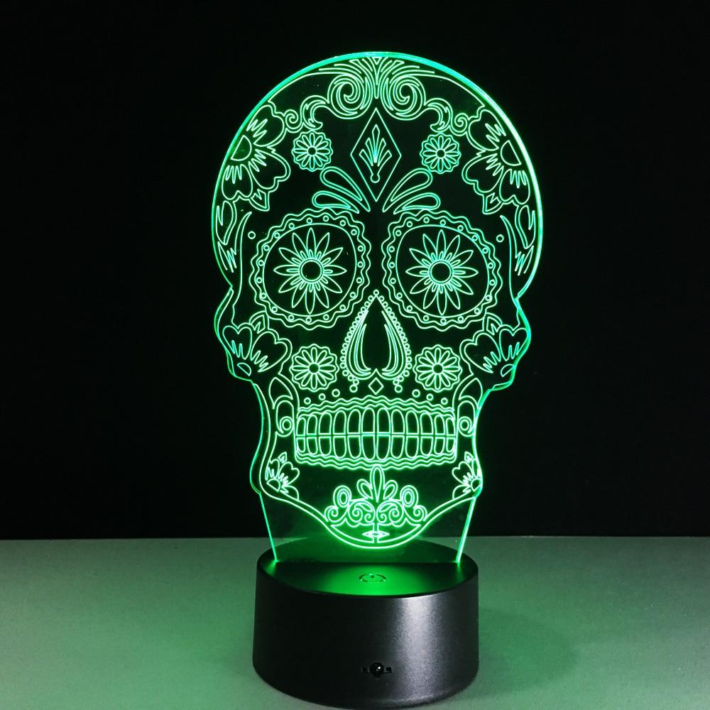 New Halloween skull head colorful 3D lamp USB charging Bluetooth wireless speaker creative processing custom Acrylic product A03