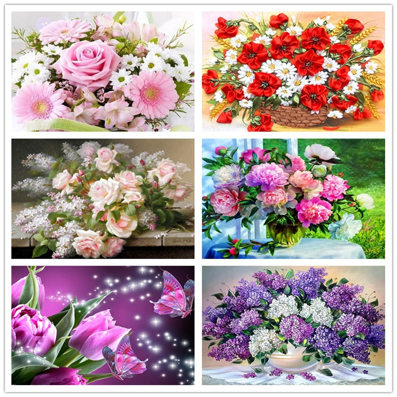 5D DIY full round diamond painting flower art vase cross stitch diamond embroidery mosaic children's room decoration painting