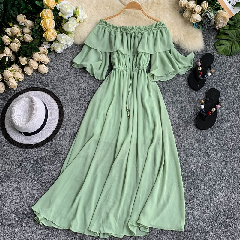 2019 Summer Fashion Maxi Long Beach Dress Stretch Slash Neck Strapless Flare Sleeves Ruffled Fairy Causal Runway Dress Women