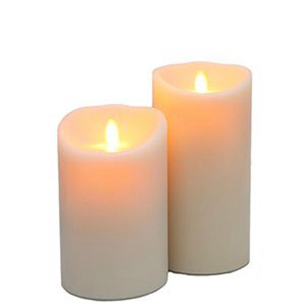 Ksperway Set di 2 LED Moving Fiamma Reale Cera Candele Pilastro Avorio Bianco (3.5*5 e 3.5*7 pollici)
