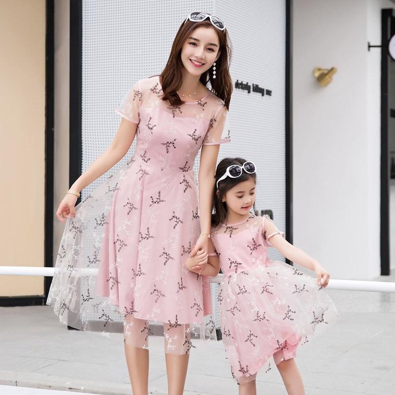 Vestidos para madre e hija para fiesta de boda, ropa elegante a juego para la familia, conjuntos de aspecto para mamá e hija, moda para chicas, ropa de malla