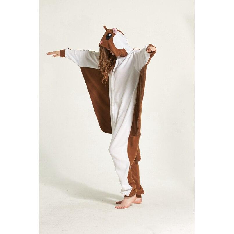 Mono de Pijama de Animal de rata voladora marrón con capucha para mujeres adultas hombres Pijama de Halloween vacaciones ropa de dormir de lana de longitud completa