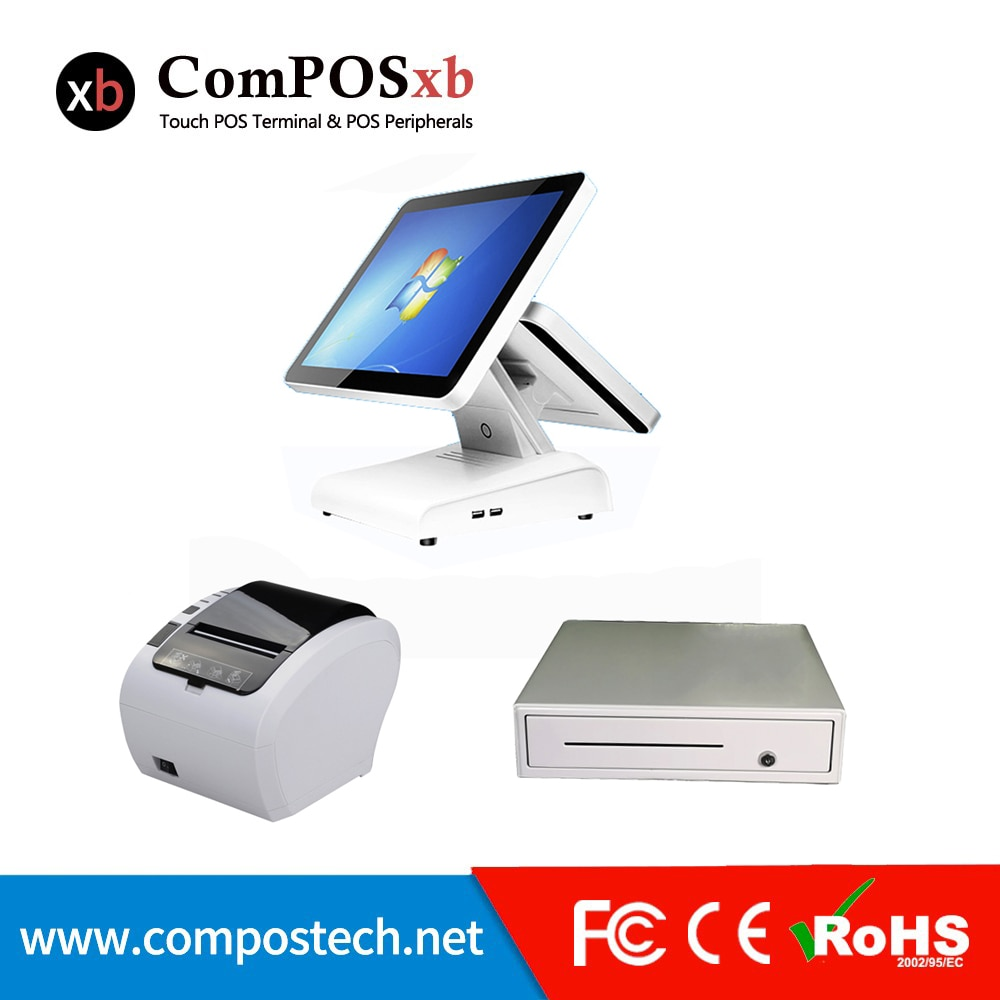 Cheap Cashier Machine cash Register software Machine 15 Inch Touch All In One Pc With 80 mm Printer/cash drawer