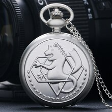 Fobs hommes femmes Fullmetal alchimiste Edward Elric Quartz montre de poche Cosplay dessin animé Fob horloge pendentif Pokemon cadeau avec chaîne