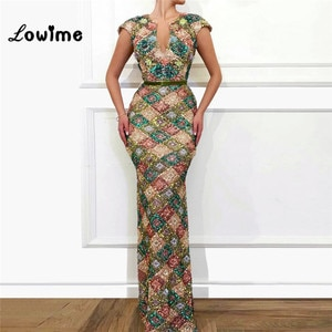 Vintage Sequined Slim Mermaid Evening Dresses 2019 New Couture Robe De Soiree Arabic Dubai Muslim Party Gowns With Short Sleeves