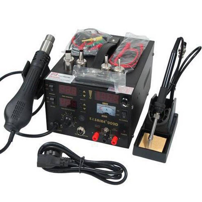 220V SAIKE 909D Soldering/Hot air gun rework station 3 in1 Soldering iron+Hot Air Gun+Power Supply+Welding gift