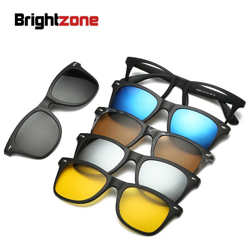 Brightzone novo 5 em 1 redondo polarizado óculos de sol das mulheres designer marca clipe magnético na lente de luxo hippie oversize