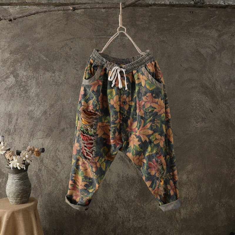 Ripped Boyfriend Jeans for Women High Waist Loose Denim Distressed Pants Female Vintage Floral Print Trousers jean