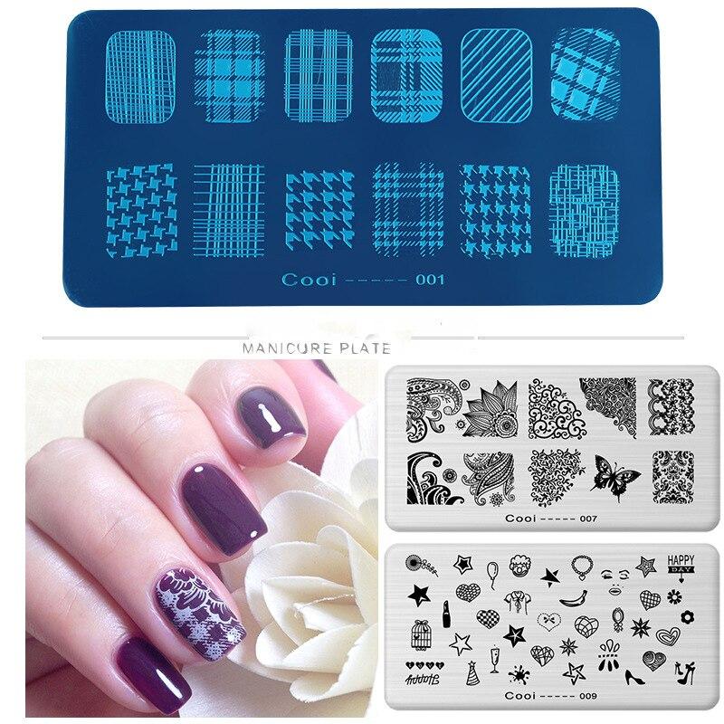 Plantilla de cuadrícula láser HNM 36 con estilo para estampado de esmalte de uñas