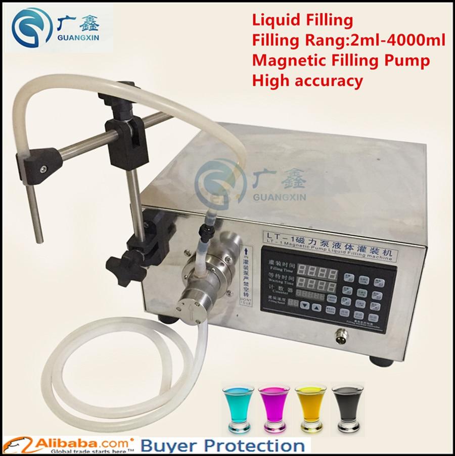 Free shipping  Single Head Magnetic Gear Pump Liquid Filling Machine,Beverage Filling Machine LT-1 filling range 2ml-5000ml