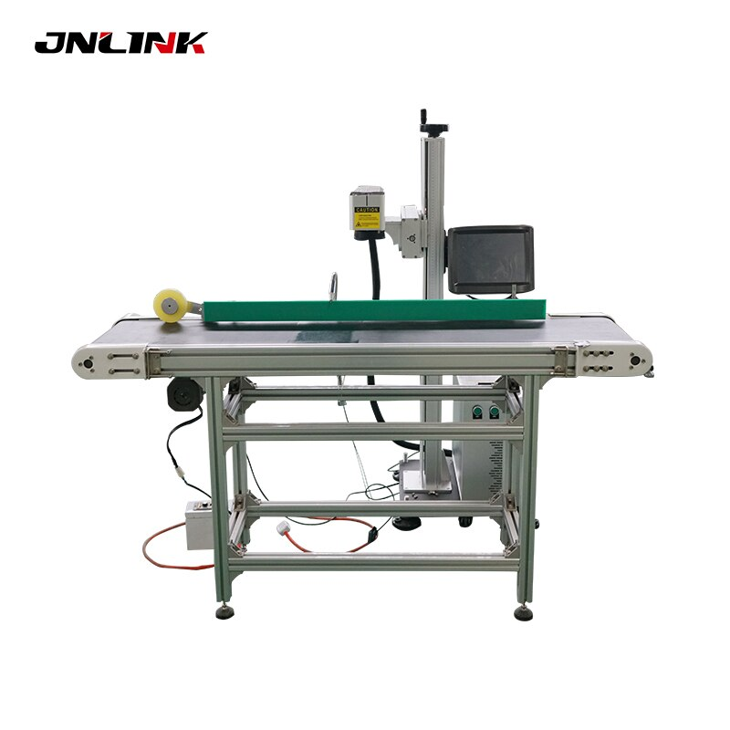 Pluma cinta transportadora suelo-Soporte Máquina de marcado láser de fibra para grabado de pluma de diamante