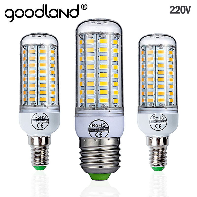 Goodland E27 LED Lamp 220V LED Bulb SMD 5730 E14 LED Light 24 36 48 56 69 72 LEDs Corn Bulbs Chandel
