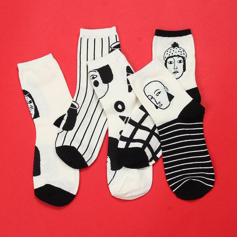 Mode Harajuku Socken Frauen Mann Striped Plaid Charakter Gedruckt Kunst Socke Unisex Casual Ankle Socken Lustige Glückliche Weibliche Strumpfwaren