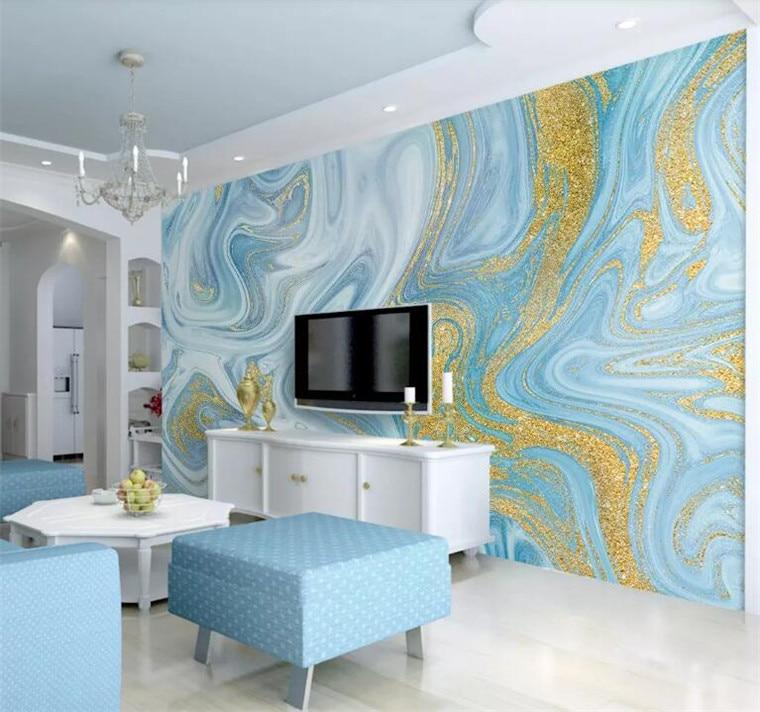 Lujoso estampado dorado textura azul mármol papel tapiz murales 3d pared foto Mural para dormitorio 3d pared murales 3D mármol papel de pared