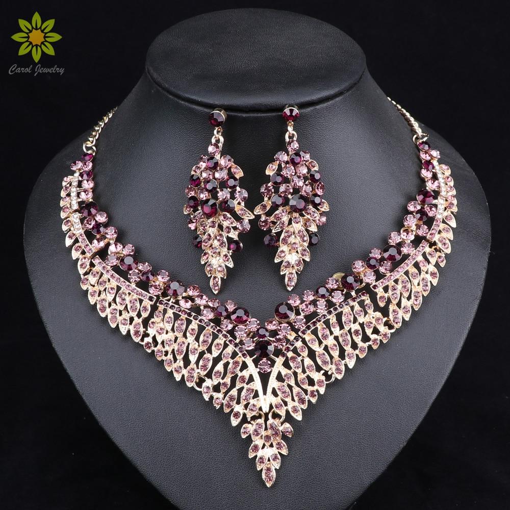 Folha africano conjuntos de jóias de noiva para as mulheres grande cristal colar de instrução brincos conjuntos de jóias de casamento