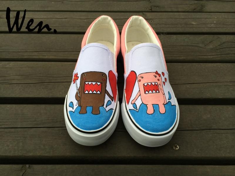 Wen Hand Painted Shoes Design Custom Cartoon Dolls Graffiti Painting White Slip on Canvas Sneakers Women Men Low Top Plimsolls